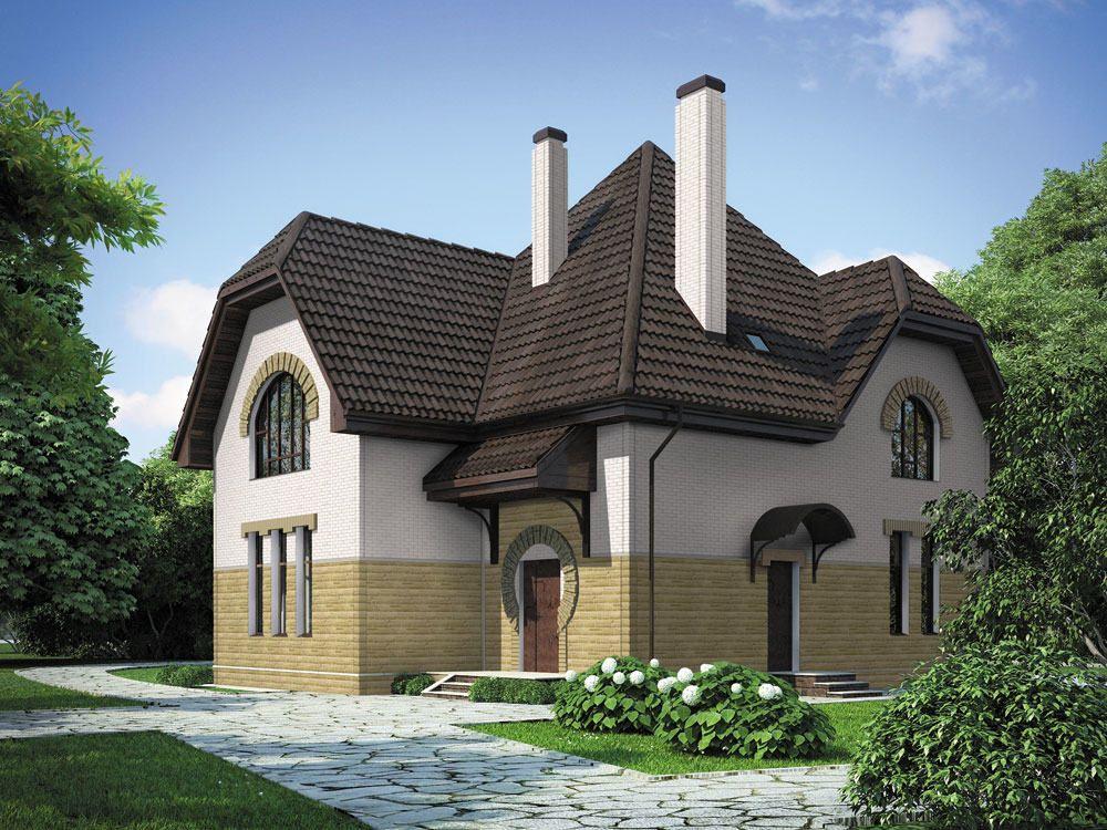 Дизайн фасада, полностью облицованного виниловым цокольным сайдингом