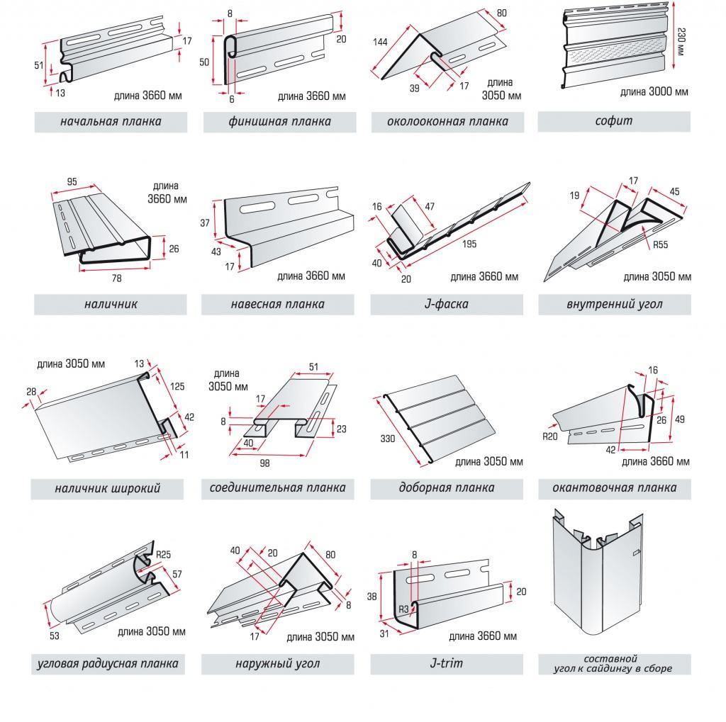 Комплектующие элементы для монтажа винилового сайдинга