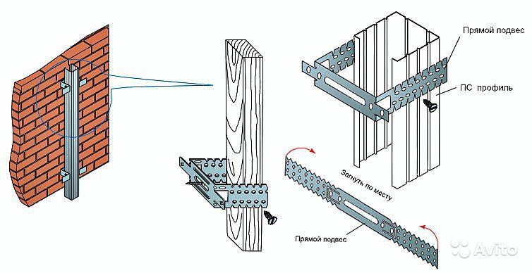Схема монтажа прямых подвесов