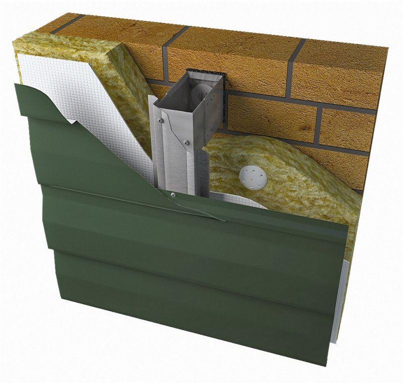 Схема устройства тёплого вентфасада на металлическом каркасе