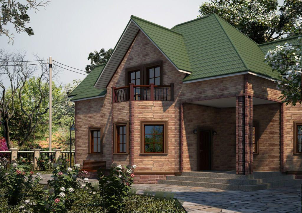 Дом, облицованный цокольным сайдингом