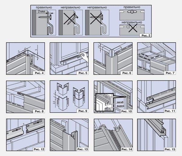 Крепится каждая панель винилового сайдинга как минимум 5 крепежными элементами