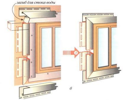 При расположении окон в глубоких нишах стены используют метод отделки откосов обычным сайдингом