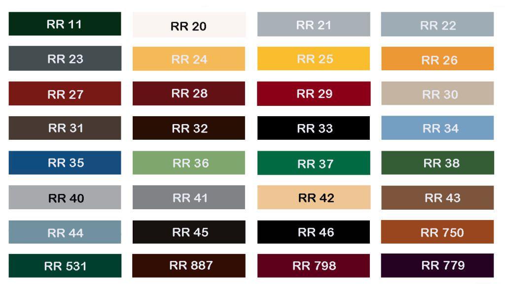 Чтобы найти нужный цвет и оттенок, достаточно воспользоваться кодировкой RAL.