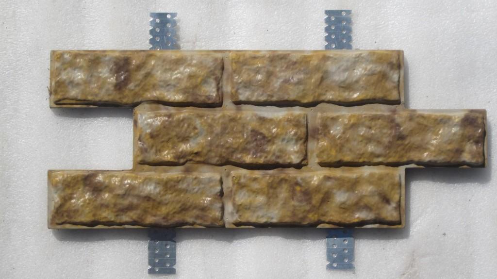 Отдельный элемент цементного сайдинга с имитацией натурального камня в глазури