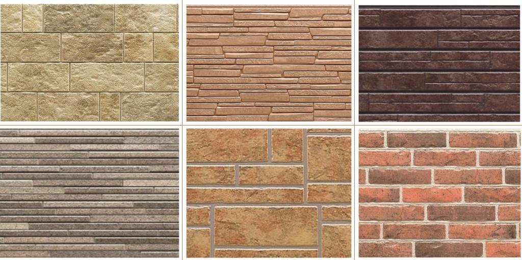 Несколько разновидностей декоративного сайдинга из бетона, имитирующих различные материалы, стоимость которых значительно выше, чем у имитации