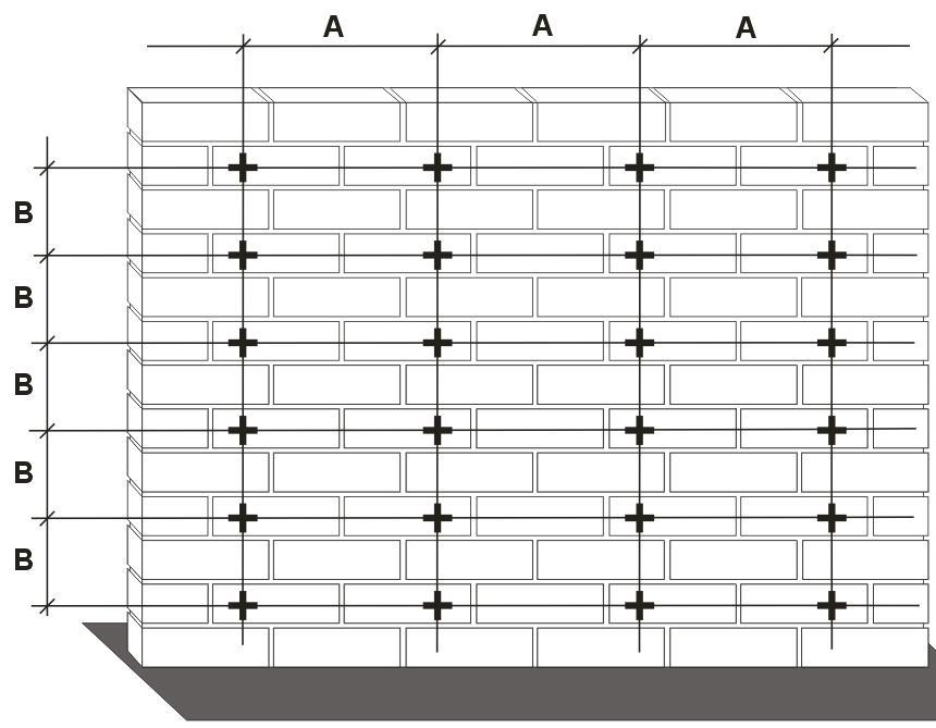 Примерно так должна выглядеть разметка стены, где крестиками обозначены места крепления оттяжек