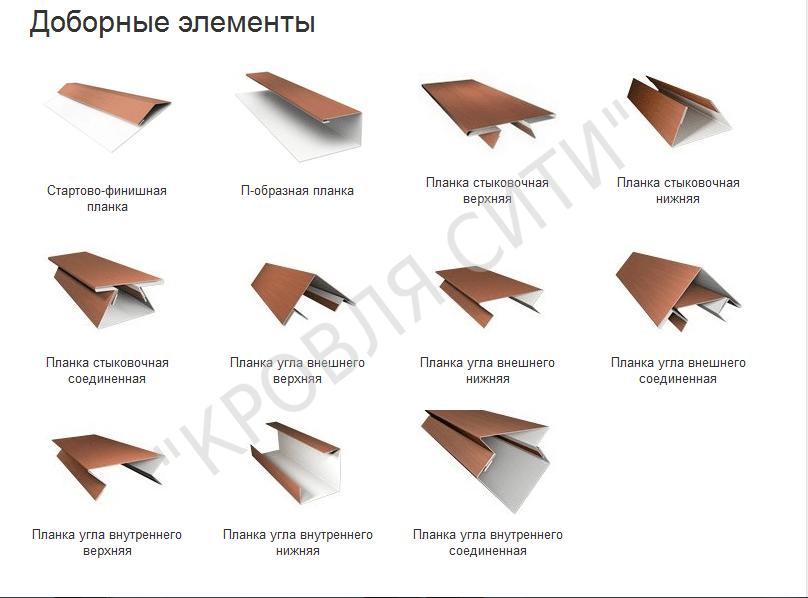 Доборные элементы для монтажа металлического сайдинга, и в том числе блок хауса