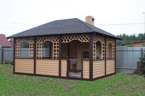 Строение, отделанное сайдингом, имитирующим блок-хаус